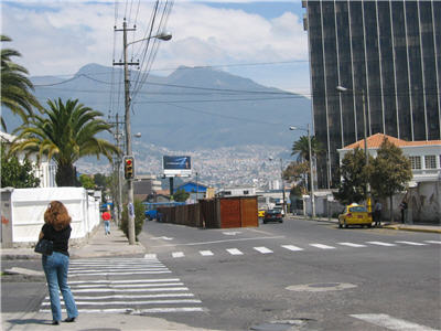A street scene, in the new part of Quito, Ecuador