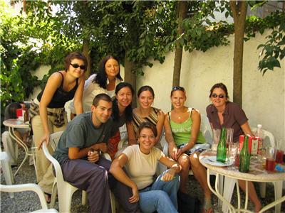 with teachers and classmates in Castila