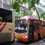 buses parking outside the Wharney GuangDong Hotel