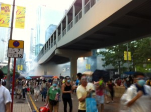 The tear gas sent people rushing away near civic square