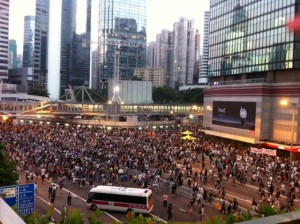 The sea of protesters in Admiralty when it was getting dark